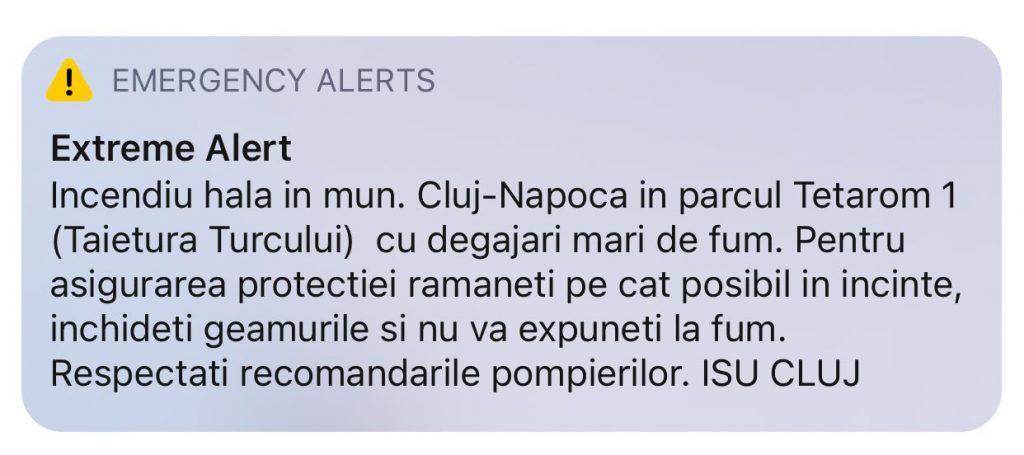 Alert issued by ISU regarding fumes from fire.
